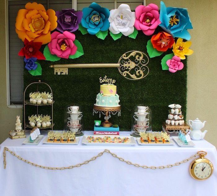 A beautiful Alice In Wonderland Dessert Table via Kara's Party Ideas | KarasPartyIdeas.com (22)
