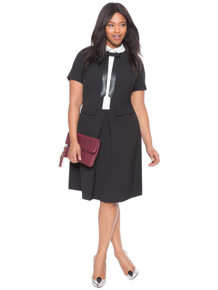 Studio Bow Detail Shirt Dress Black / White
