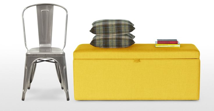 Decker Upholstered Storage Bench in dandelion yellow | made.com