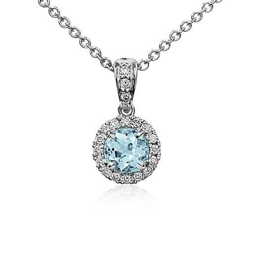 Aquamarine and Micropavé Diamond Pendant in 18k White Gold (5mm)