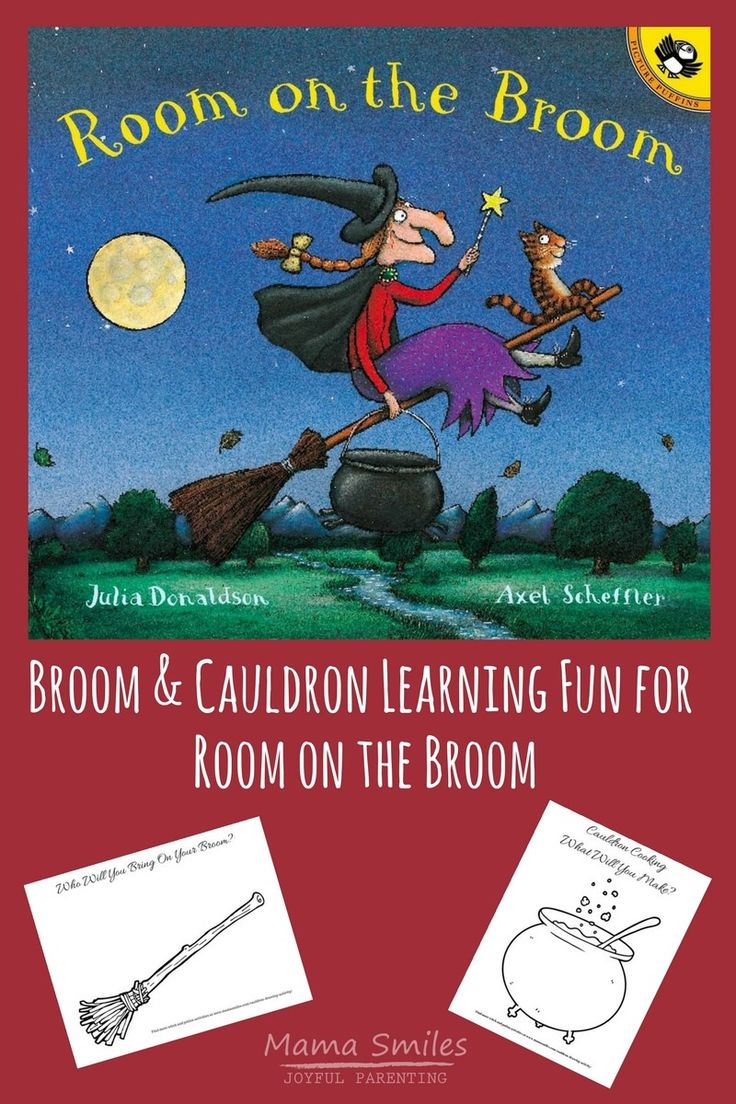 Simple printable broom and cauldron drawing activity pages for Julia Donaldson's Room on the Broom. Great creative literacy work for kids! #ece #picturebooks #Halloween #literacy #VBCforKids