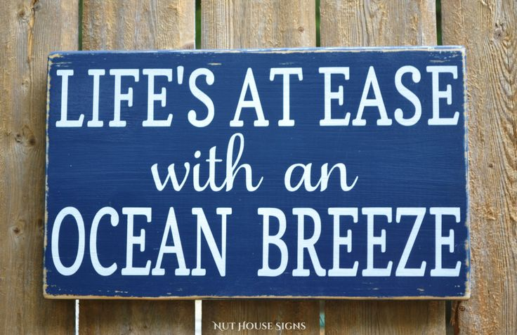 Beach Sign Beach Decor Nautical Gift Rustic Wood Signs Shore Life At Ease Ocean Breeze Fun Summer Quote Sayings Coastal Wooden Plaque House