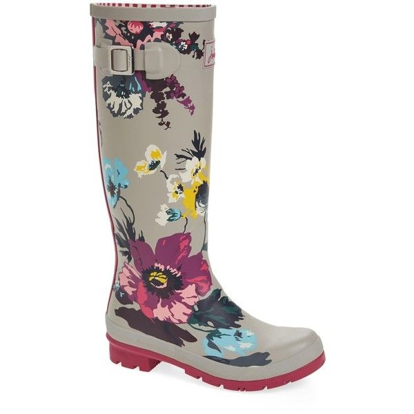 Women's Joules 'Welly' Print Rain Boot (£60) ❤ liked on Polyvore featuring shoes, boots, silver posy, wellington boots, buckle rain boots, rubber boots, print rain boots and buckle boots