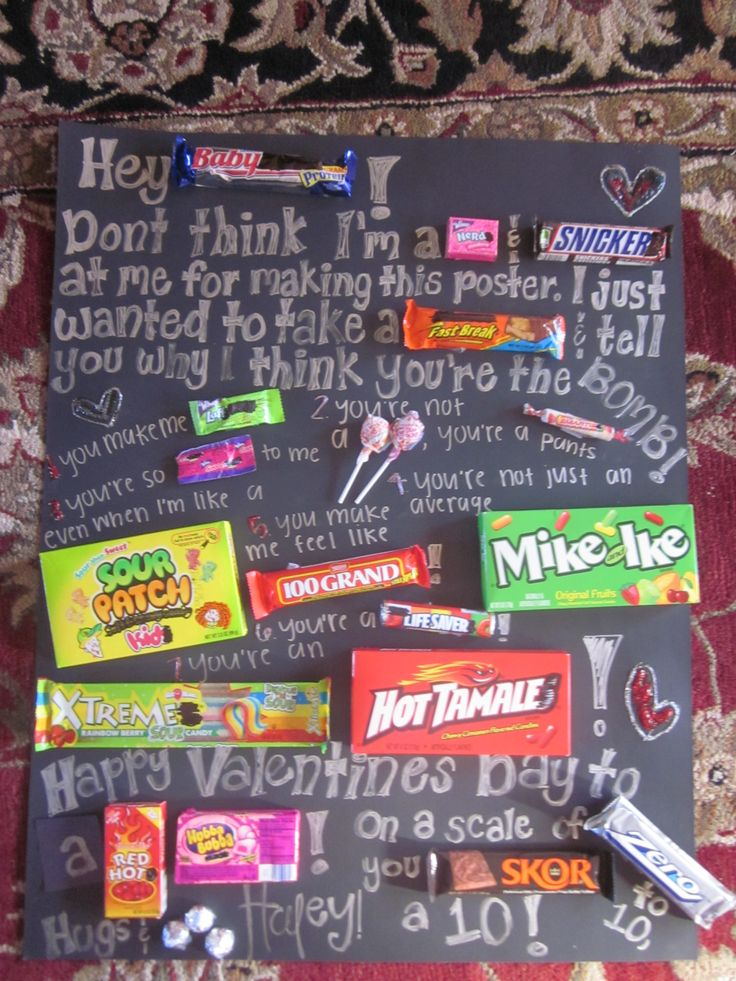 its a candy gram:) its so easy to make! buy a poster buy candy and replace some words with candy!! its a great idea for birthdays and valentines gifts!!