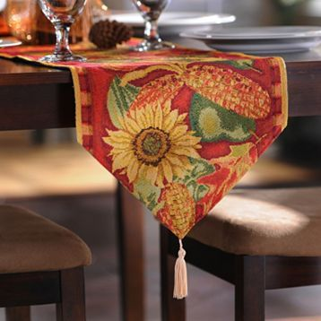 Looking for a holiday table runner? This one is beautiful featuring sunflowers and rich fall colors! #kirklands #harvest