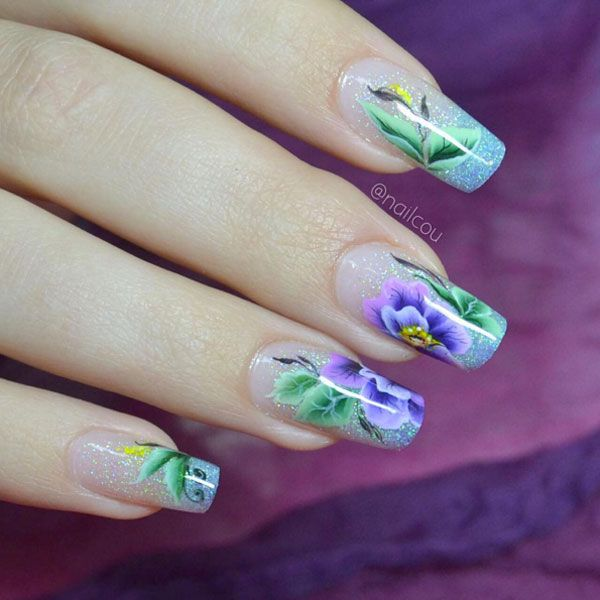 94 best floral nail art images on pinterest floral nail art sculpted by and designed by these feminine floral nails will inspire you to create your best set see the pro nail design here prinsesfo Images