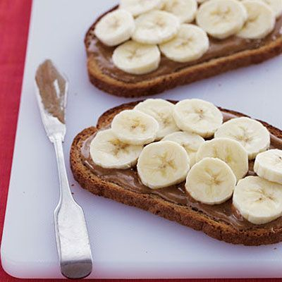 Banana & Almond Butter Toast - 30 Quick-and-Easy Fat-Burning Recipes - Health.com  'This simple yet tasty morning pick-me-up features no fewer than three of the best foods to eat for breakfast. The bananas and whole-grain rye bread are high in resistant starch, to help boost metabolism, while the almond butter adds hunger-curbing protein and healthy monounsaturated fats'