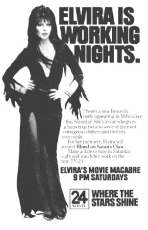 Ad for Elvira's Movie Macabre as it debuted in Milwaukee.