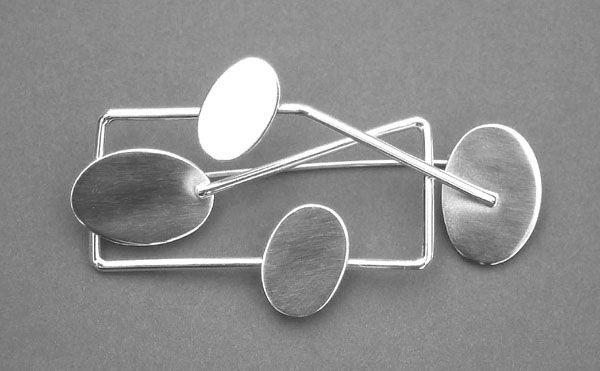 """Eila Minkkinen ~""""Moonbridge"""" silver #brooch, 2000."""