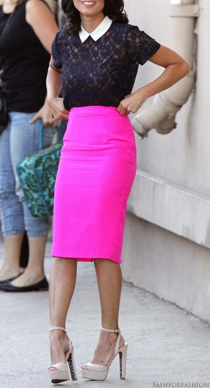 Hot pink skirt. Love the top. So cute!