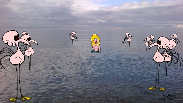 Mermaid & flamingos by Doodleguy.