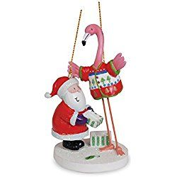 Santa with Flamingo in Ugly Tacky Christmas Sweater Holiday Ornament Cape Shore