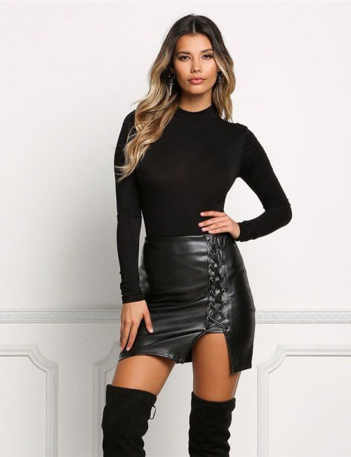 89eee5d9d002 Women's Sexy Leather Lace Mini Skirt in 2019 | Closet needs | Lace ...