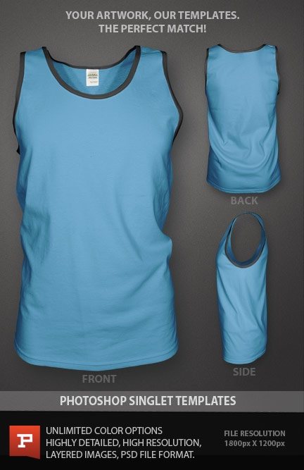 Photoshop singlet design template mockup. Smart object filters add realism to your artwork never seen before in a singlet template. Your artwork follows the contours of the fabric for a truly photo real product mockup. https://www.prepresstoolkit.com/shop/ghosted-singlet-template-psd/