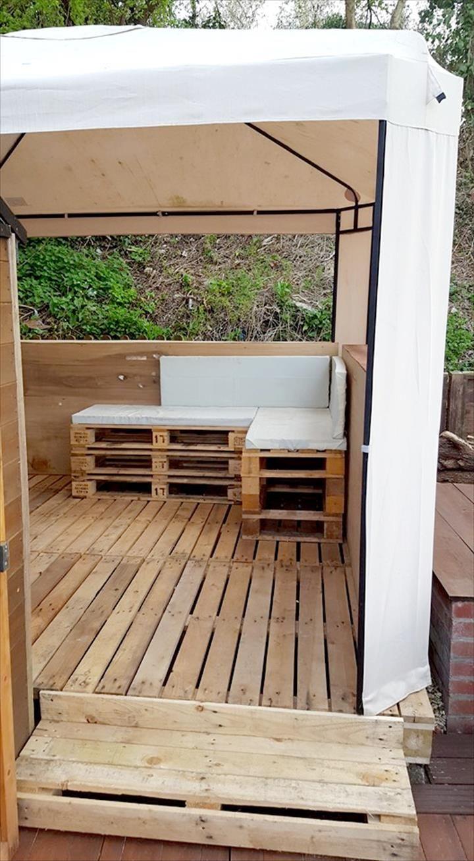 Pallet Deck and Furniture Set Under Gazebo | Pallet Furniture