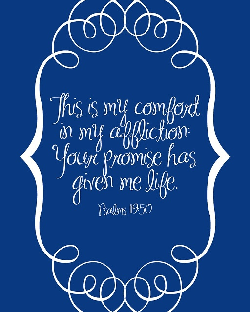 Psalms 119:50 ~ This is my comfort in my affliction...Your promise has given me life!