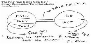 Knowledge-Action Gap-- companies must develop an attitude of 'action', knowing is fine but 'doing' is what counts... The key to success in business is action. But in most companies, people are rewarded for talking-- and the longer, louder and more confusingly, and apparently the better...