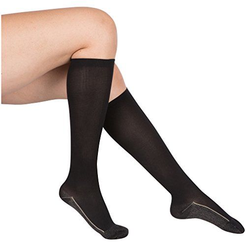 2 Pair EvoNation Womens Copper USA Made Graduated Compression Socks 2030 mmHg Firm Pressure Medical Quality Knee High Orthopedic Support Stockings Hose  Comfort Circulation Travel Large Black >>> Be sure to check out this awesome product.