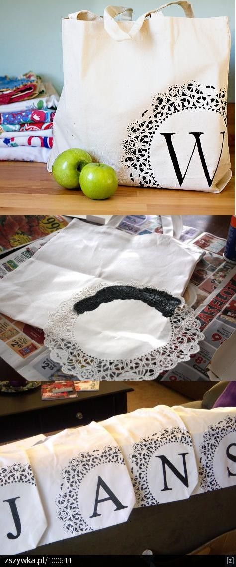 DIY monogram bags... stencil black paint over a doily. Genius and fun! Could easily swap out for another color for one or both!