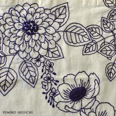 Flower stitch 藍色刺繍 - Yumiko Higuchi