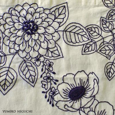 Flower stitch 藍色刺繍