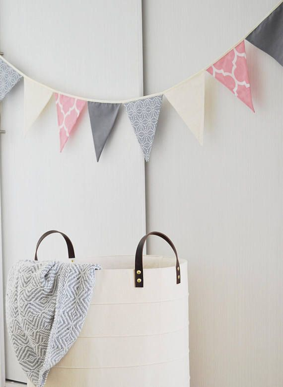 PINK HEARTS BUNTING PLAY ROOM//BEDROOM//BIRTHDAY-18 PRETTY FLAGS!!