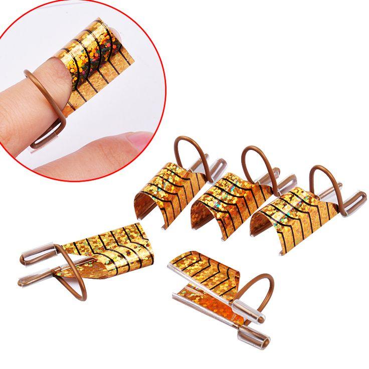 5 sztuk/zestaw Wielokrotnego Użytku Podwójny Srebrny/Złoty Formularz Do Zdobienia paznokci Podejmowania C Krzywa Akryl Francuski Porady