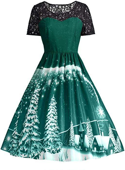 3097cd334eea7 Amazon.com: ZAFUL Women's Vintage Christmas Party Dress Fashion Lace Short  Sleeve High Waist V Back A-Line Retro Plus Size Dress Green-B M: Clothing