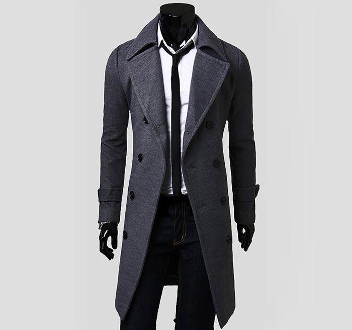 Solid Color Turndown Collar Double-Breasted Design Long Sleeves Woolen Black Trench Coat For Men (BLACK,M) | Sammydress.com