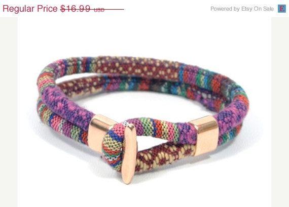 SALE burgundy ethnic bracelet tribal fabric by CozyDetailz on Etsy