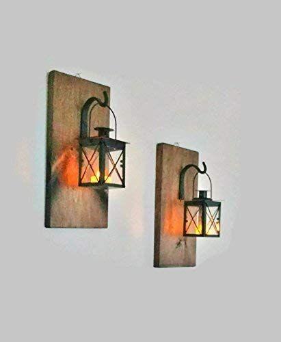 Rustic Wall Mounted Hanging Metal Lanterns With Lights 799c1ad0b