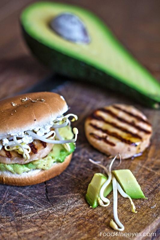 Avocado and sprouts hamburger