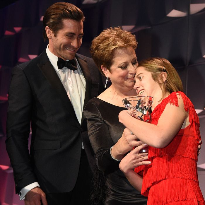"""Jake Gyllenhaal looked on adoringly as UNICEF USA president Carly Stern gave honoree Lucy Meyer her award at the UNICEF Snowflake Ball in NYC. The Life actor shared about the Special Olympics spokesperson: """"Becoming a hero is an exercise in facing all of your fears and personal vulnerability head on, it's about choosing to overcome devastating loss and tragedy day by day..."""