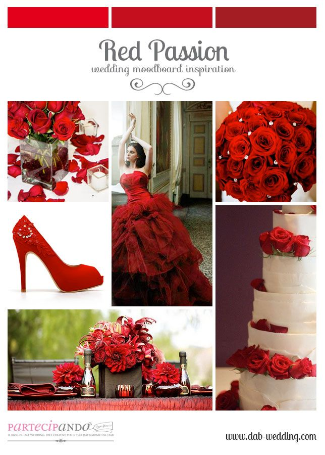 Inspiration mood board for wedding in Red Passion palette. By ®Dab Wedding Events