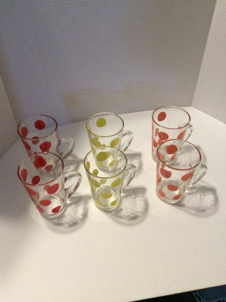 Fire King polka-dot mugs, Fire King Polka dot patio mugs/glasses, Fire King glasses, vintage Fire King mugs by GypsyCowgirlVintage on Etsy