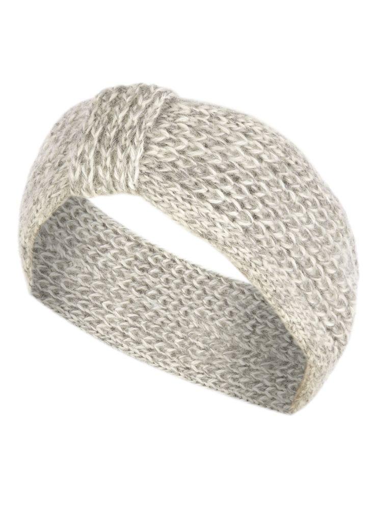 De Bijenkorf gebreide hoofdband van wol blend. Dit lichtgrijs gemêleerde model is aan één zijde voorzien van een smal bandje.
