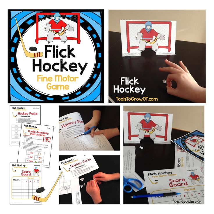 Fine Motor Flick Hockey Game. This hockey themed table top/floor game is designed to promote development of turn taking, following directions, visual motor, and fine motor skills.