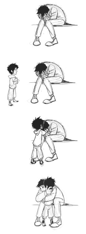 Hiro gives Tadashi a hug when he feels down THIS PICTURE IS THE BEST PICTURE EVER