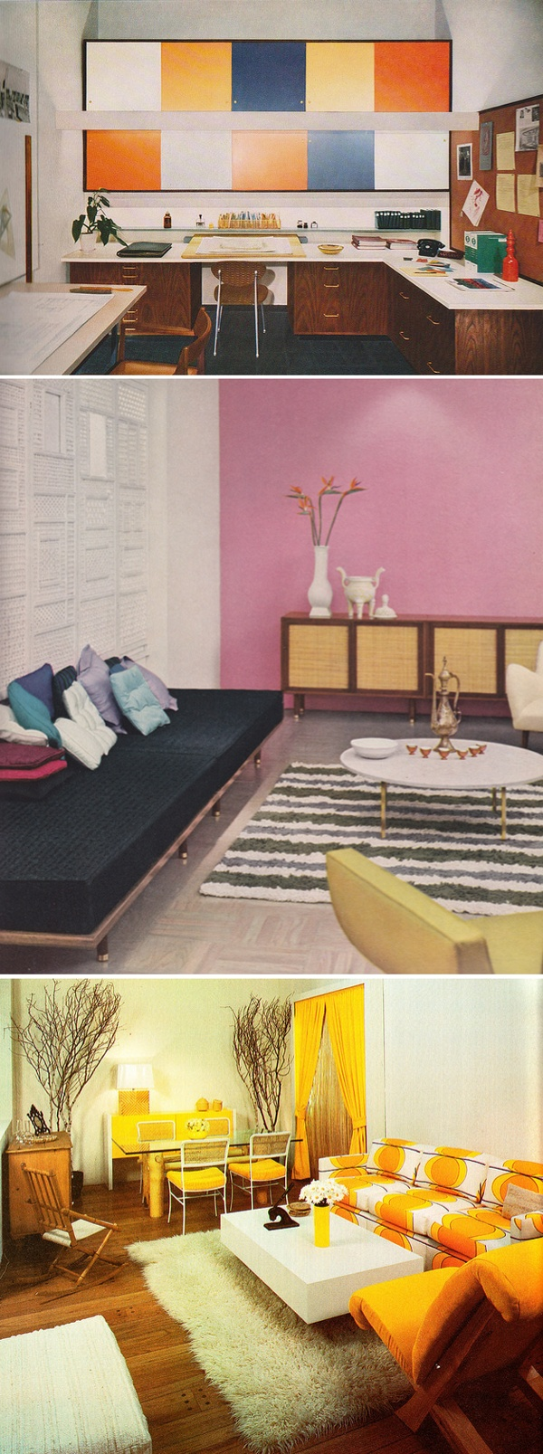 I need those colored shelves: Small Bathroom Design, Houses Gardens, Living Rooms, Pink Accent Wall, Interiors Design, Mid Century, Pink Wall, Retro Interiors, Complete Guide