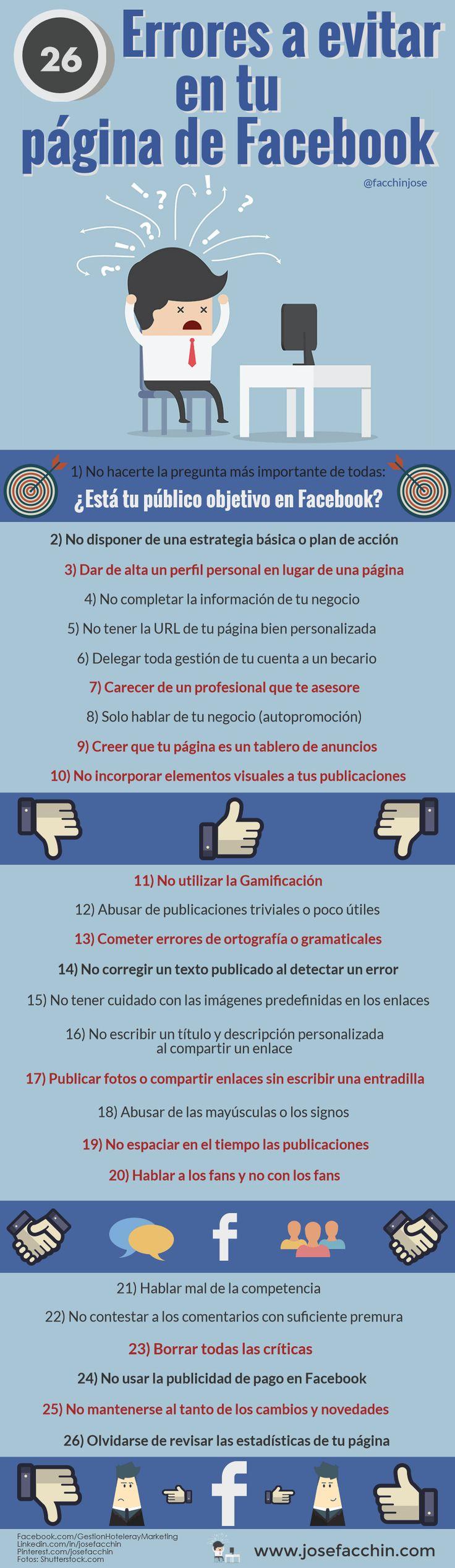 26 Errores a evitar en tu página de Facebook para empresas que harán que tu estrategia de marketing no funcione ⛔ #infografía