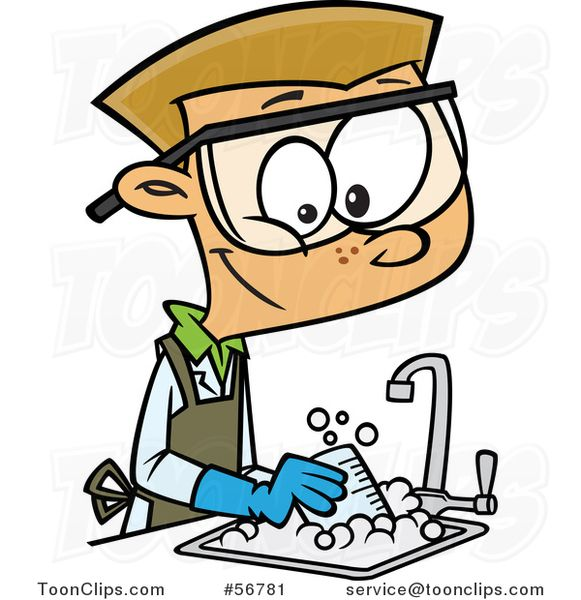 Cartoon Blond White School Boy Cleaning Up In A Science Lab With