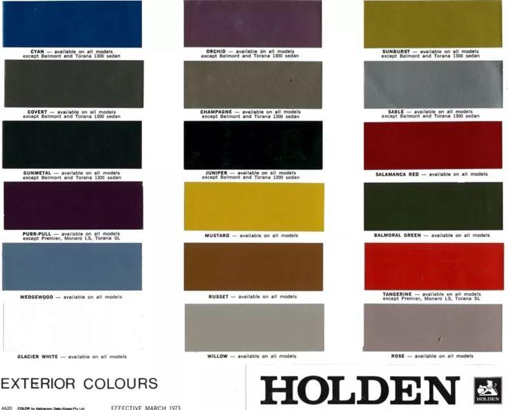 1973 Holden Paint Chart