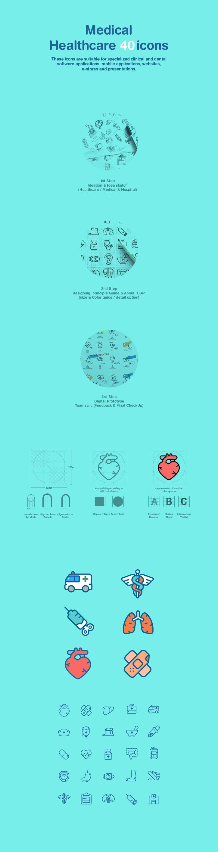 We created various icons applied to hospital website and application.  We wanted the icons to remind people of comfort and familiarity such as wit in consideration of symbolic representation of hospital.