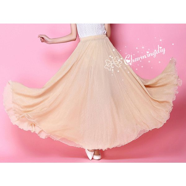 Chiffon Apricot Long Party Skirt Evening Wedding Lightweight Sundress... (€36) ❤ liked on Polyvore featuring dresses, light pink, skirts, women's clothing, party dresses, long chiffon dress, long cocktail dresses, pink cocktail dress and bridesmaid dresses