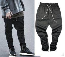 Justin bieber marca estilo cremallera lateral de los hombres slim fit casual mens hip hop pantalones de chándal basculador pantalones de ciclista botín pantalón ajustado de oliva(China (Mainland))
