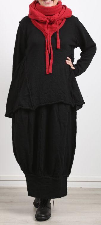 barbara speer - Pullover mit Volant hinten gekochte Wolle Oversize black - Winter 2018