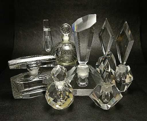 Lot: 296: Eight Crystal Perfume Bottles of Various Age, Lot Number: 0296, Starting Bid: $250, Auctioneer: Perfume Bottles Auction, Auction: Perfume Bottles Auction, Date: May 1st, 2009 EDT