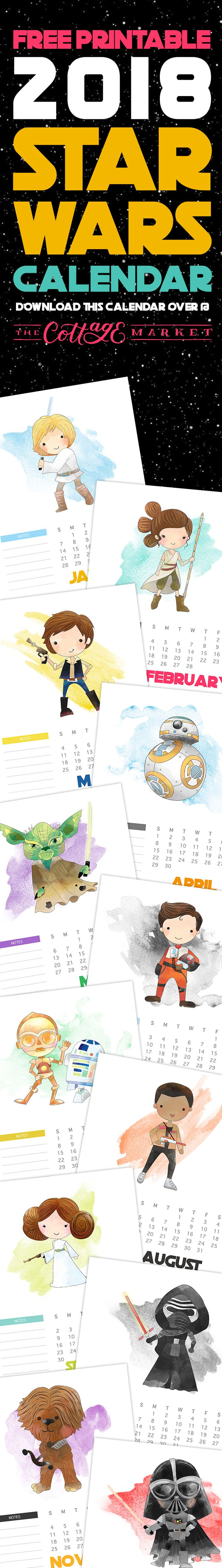 Free printable 2018 Star Wars calendar