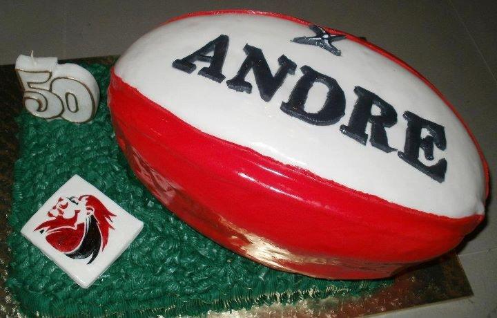 Lion Rugby Ball Birthday Cake