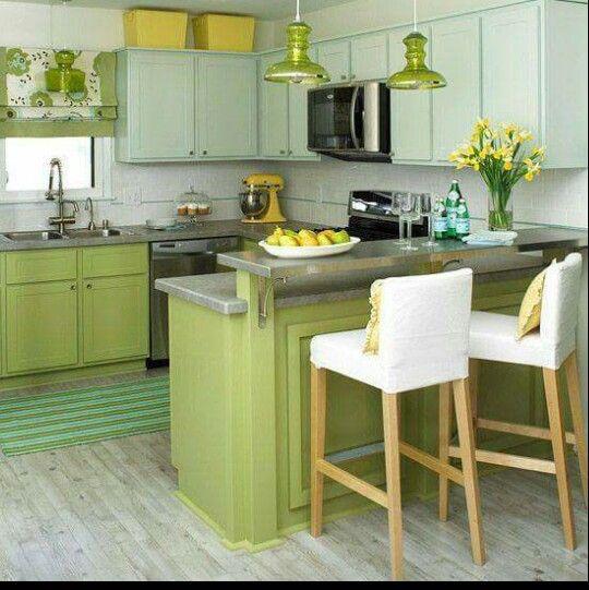 Cocina verde y menta